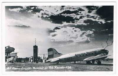 Postcard Aerolineas Argentinas Rio Hondo Airport Douglas DC-3 Aviation Airline