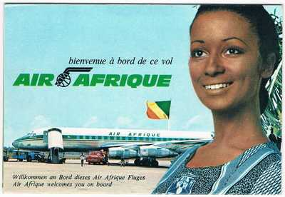 'Postcard' Air Afrique Air line Issue Questionnaire folding card Douglas DC-8