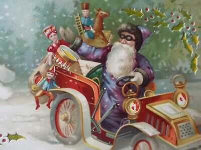 Fabulous 1907 Hold To Light Purple robed Santa car snowman Christmas Germany