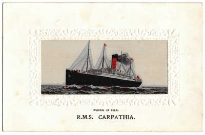 R.M.S. Carpathia Silk Postcard Cunard LIne  And Titanic Interest