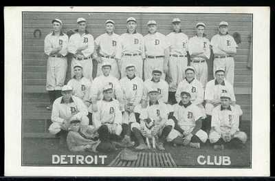 EARLY POSTCARD DETROIT CLUB BASEBALL TEAM H.M TAYLOR 1907-1909
