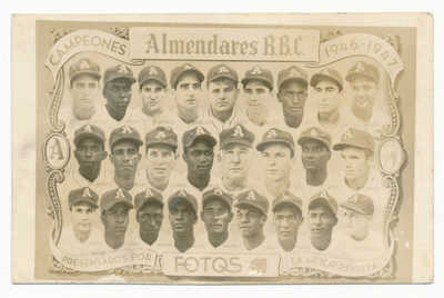 1946-47 Almendares Cuban baseball Fotos RPPC with Buck O'Neil & Negro Leaguers