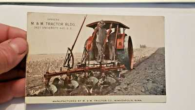 VERY RARE 1915 M&M PRAIRE TRACTOR,JOHN DEERE PLOW ADVERTISNG POSTCARD