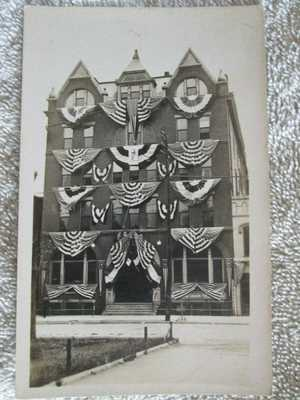 Antique Rudd House Hotel, Owensboro, Kentucky July 4 Flags Real Photo Postcard