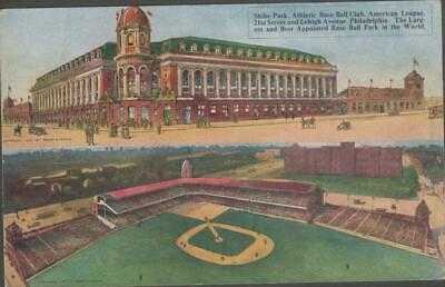RARE 1909 Shibe Park Baseball Stadium Postcard Philadelphia Athletics Split View