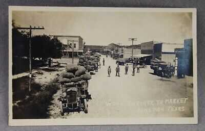 Junction Main Street? Wool Enroute to Market RPPC TX Real Photo Postcard #22