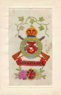 RARE: 3rd COUNTY OF LONDON YEOMANRY: WW1 MILITARY EMBROIDERED SILK POSTCARD