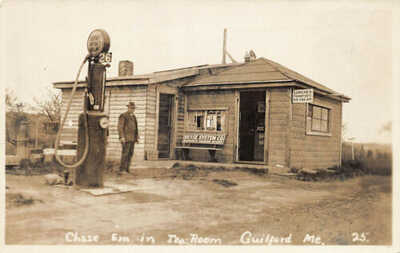 "Guilford ME ""Chase Em In"" Tea Room Socony Gas Station Real Photo Postcard"