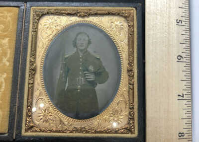Vintage Civil War Soldier With Rifle & Bayonet With Wound On Face Daguerrotype