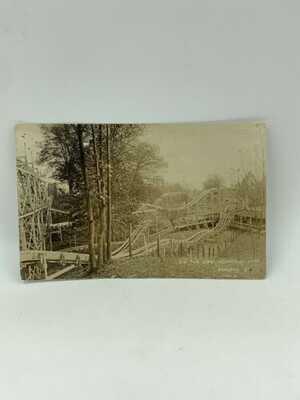 RPPC 1910 Dip The Dips Clyffside Park Ashland KY Postcard Wooden Roller Coaster