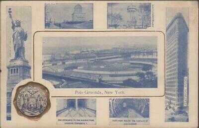 Rare - 1909 New York Giants Baseball Stadium Postcard Polo Grounds