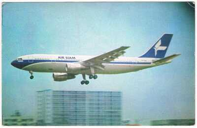 Postcard Air Siam Airline Issue Airbus A-300 Aviation Airport Airways