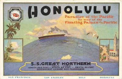 Honolulu HI S. S. Great Northern Paradise of the Pacific Poster Type Postcard
