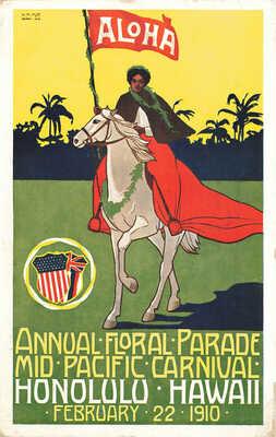 Honolulu HI Mid-Pacific Carnival February 22, 1910 Poster Type Postcard