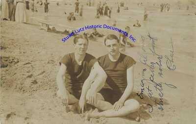 Gay men postcard photograph from Cedar Point, Sandusky Ohio circa 1920s