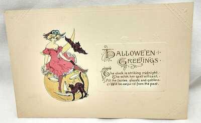 1900's John Winsch Halloween Post Card Woman on JOL w/ Black Cat & Bat