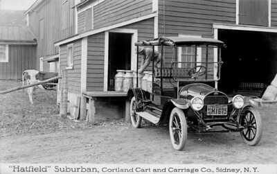 "Sidney NY ""Hatfield"" Suburban Cortland Cart & Carriage Co. 1915 Dealer RPPC"