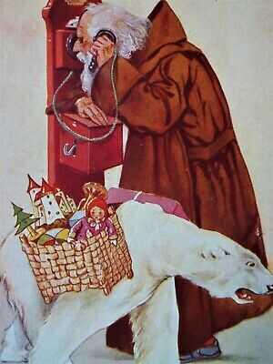 Superb 1915 Artist Signed Brown robed Santa telephone Polar Bear Christmas