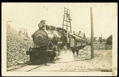 REAL PHOTO POSTCARD RPPC PAINESDALE MICHIGAN COPPER RANGE TRAIN RAILROAD CA 1920