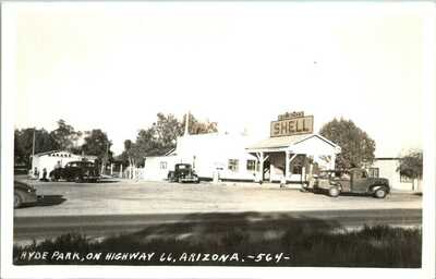 ARIZONA Hyde Park Route 66 Shell Gas Station Cafe Garage 1930s Cars RPPC c1940s
