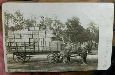 1909 KIEWEL BREWING LITTLE FALLS, MN, HORSE DRAWN WAGON BEER CASES POSTCARD RPPC
