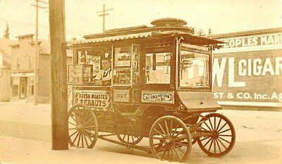 Popcorn & Fresh Roasted Peanuts Wagon Real Photo Postcard
