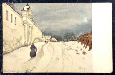 "Postcard Russia M.Dobuzhinsky Dobujinsky Red Cross St.Eugenia ""VILNA IN WINTER"""