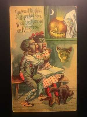 Early 1900's HALLOWEEN POSTCARD, 6508 FROM THE 6500-6511 SERIES-BLACK AMERICAN