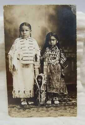 1919 Watonga Oklahoma Indian Girls in Beaded Dresses w/ Elks' Teeth RPPC w/ Doll