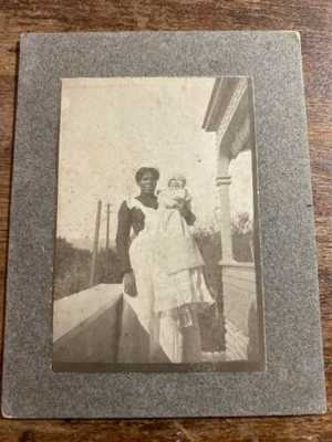 Antique Photo Black Americana Mammy Holding Baby at Casa Lima Redlands CA