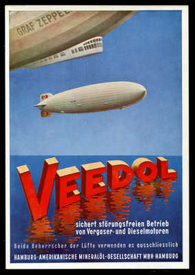 SCARCE Original Germany Advertising Postcard Zeppelin Airship Oil German 1933