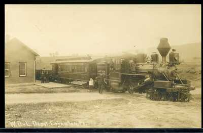 RPPC REAL PHOTO POSTCARD RAILROAD TRAIN WHITE DEER & LOGANTOWN DEPOT PA 1910