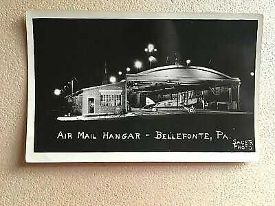 ORIGINAL 1925 RP PC AIR MAIL HANGAR & DH-12 AIRCRAFT AT BELLEFONTE FIELD PA