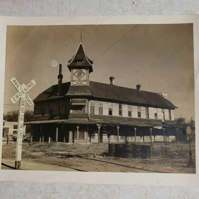 Vintage Railroad Depot Photograph B&W 8x10 Old S.A.P. Depot San Antonio TX