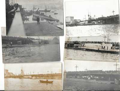 TURKEY WWI PERA CONSTANTINOPLE 6 POSTCARDS PHOTOGRAPHIC HM SUBMARINE M1