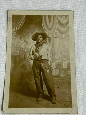 Antique Black Americana Black Guns/Revolver Cowboy Real Photo Postcard RPPC
