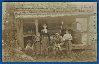 RPPC  WEST VIRGINIA MOUNTAIN FAMILY  AND THEIR LOG CABIN HOME circa 1907