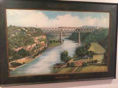 Antique 1911 Lithograph on Metal High Bridge Kentucky River Southern Railway