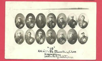 Baseball Railroad team RPPC: Atchison Topeka & Santa Fe Railroad - 1911