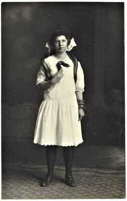 RPPC  YOUNG LADY WITH LARGE SNAKE