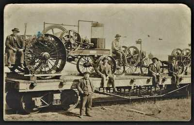 RPPC  STATIONARY GASOLINE ENGINES ON A RAILROAD CAR IN 1908 IN WISCONSIN