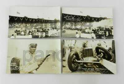 (4) RPPC Postcards 1926 INDIANAPOLIS Motor Speedway 500 RACE - FRANK LOCKHART