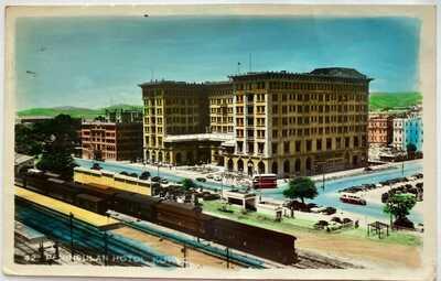 Hong Kong Tinted Photo Postcard Peninsula Hotel Forces Mail BBC 1950s