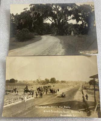 2-Auto Race Course Savannah Georgia Photo Post Card RPPC