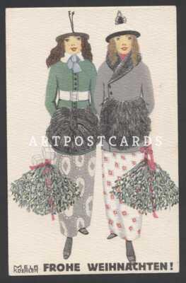 1910 Ladies in Hat  Art Deco Nouveau Fashion by Mela Koehler vintage postcard