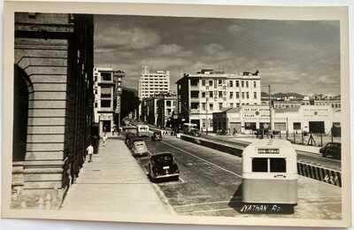 Hong Kong Real Photo Postcard Nathan Road Bus Tsimshatsui Kowloon 1950s