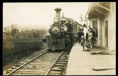 REAL PHOTO POSTCARD RPPC RAILROAD TRAIN DEPOT AMESVILLE ATHENS COUNTY OHIO 1910