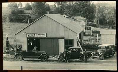 REAL PHOTO POSTCARD RPPC GAS PUMP & SERVICE STATION GUILFORD LAKE OHIO #2 1920s