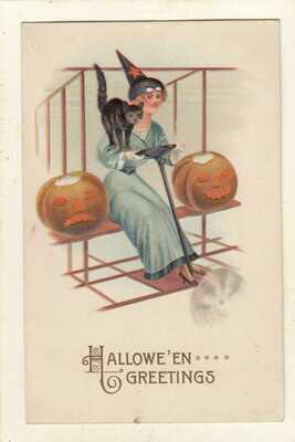 early VINTAGE WITCH - BLACK CAT-JOL- -HALLOWEEN GREETING POSTCARD ***NICE***