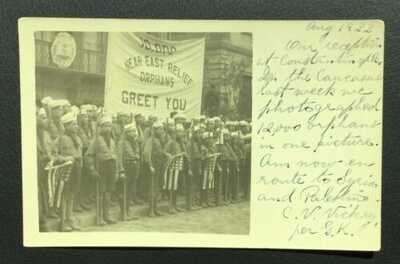 GOOD TURKEY RPPC 10,000 NEAR EAST RELIEF ORPHANS GREET YOU, CONSTANTINOPLE TO US